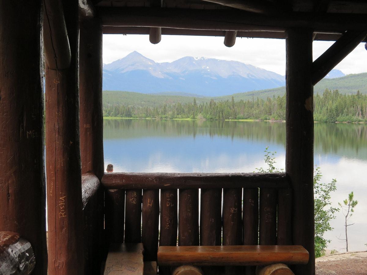 Pyramid Lake with woodcabin