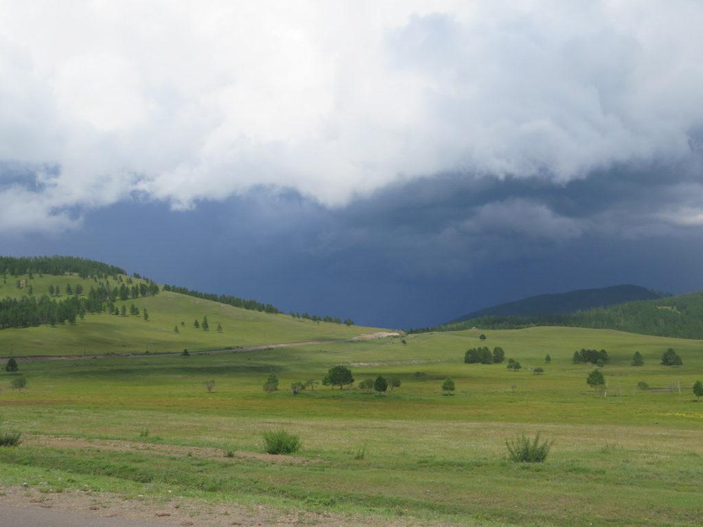 Natur in der Mongolei. Grüne Hügel mit ein paar Bäume und sehr dunkelgrauer Himmel und Wolken.