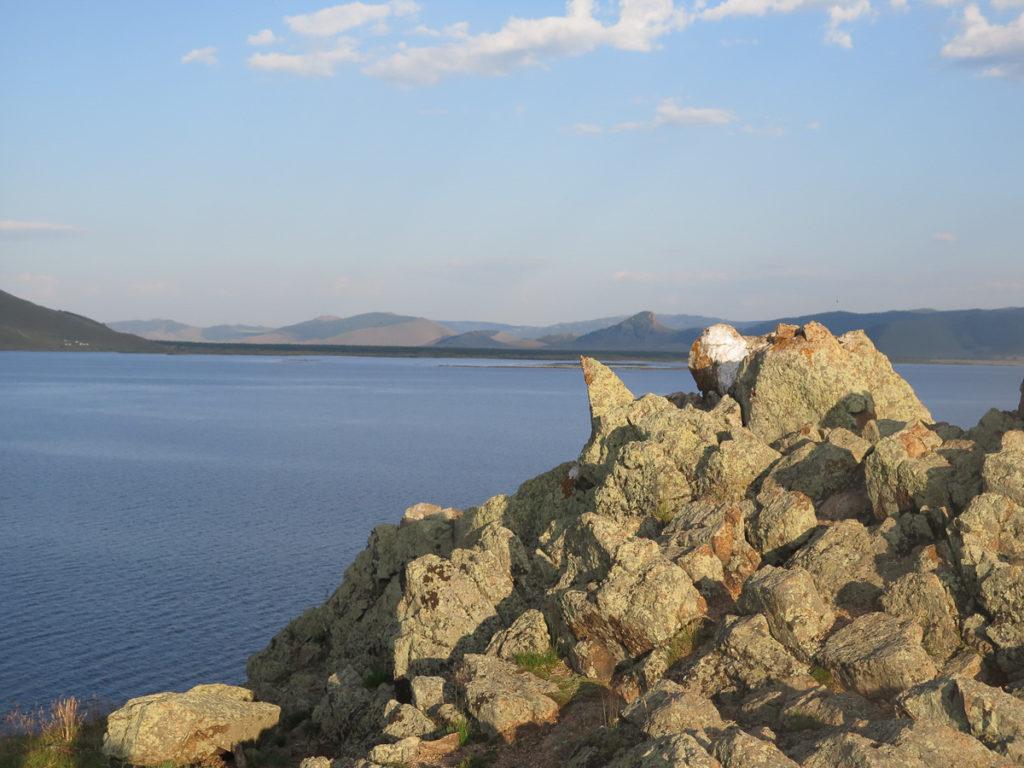 Blick auf Tsagaan Nuur See