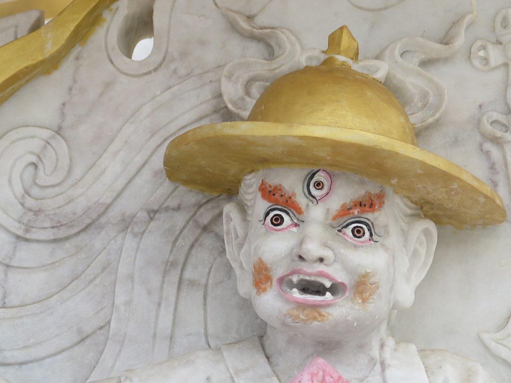 Mongolei im Kloster Amarbayasgalant, abschreckende Skulptur