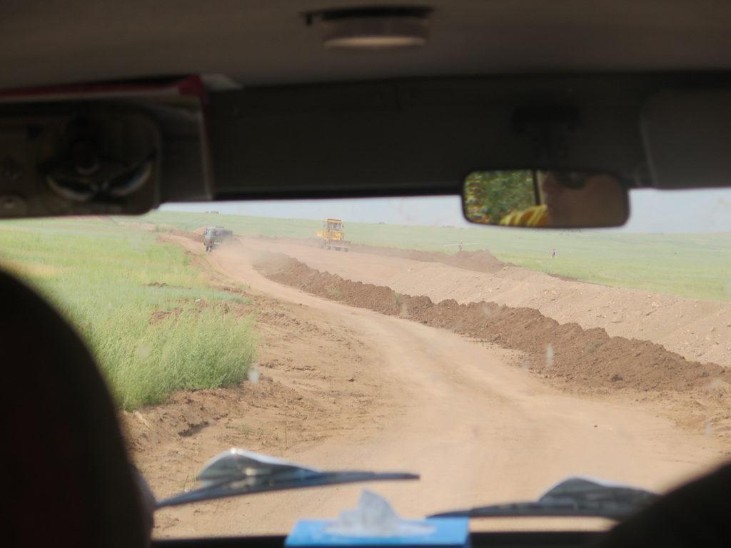 Autbahnbaustelle Mongolei