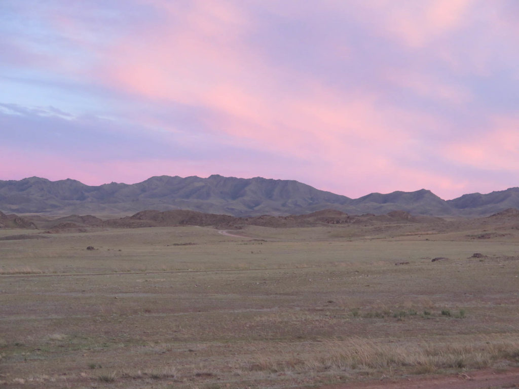 Sonnenuntergang leuchtend rosa in der Mongolei, grüne hügel