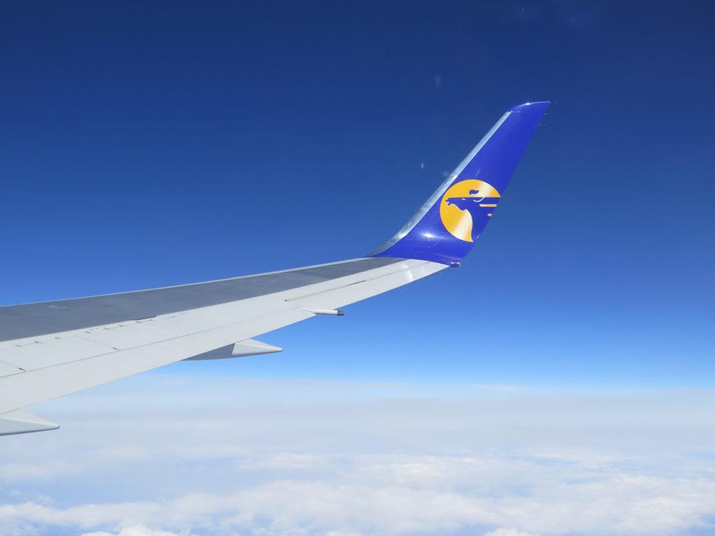 Flügel vom Mongolian Airlines Flugzeug
