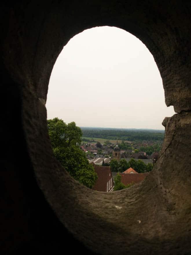 Aussicht vom Pulverturm Burg Bentheim Blick auf Bentheimer Kirche