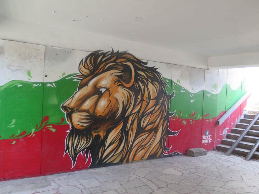 Streetart Löwe mit Farben bulgarische Fahne