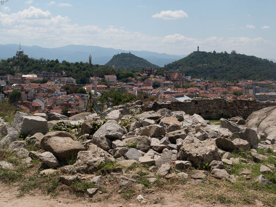 Aussicht auf Hügeln Plovdiv am Nebet Tepe