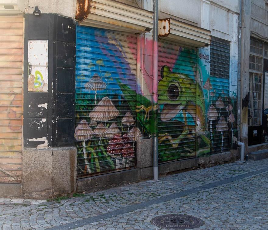 Streetart Frosch Kapana Plovdiv auf Rolladen