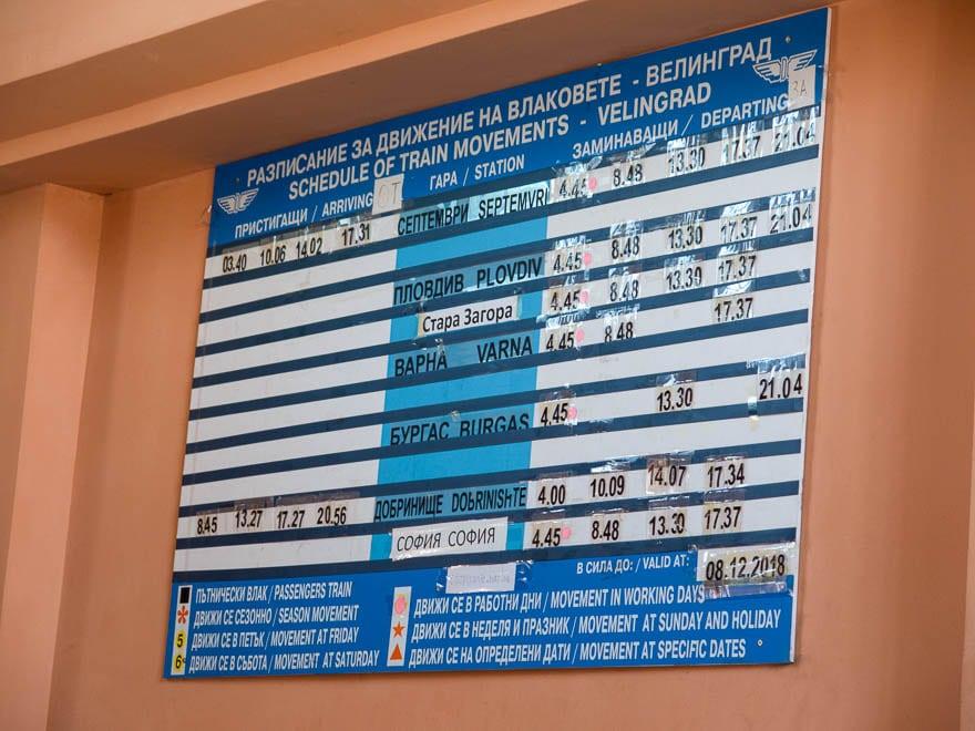 Bahnhof Velingrad Zeitplan