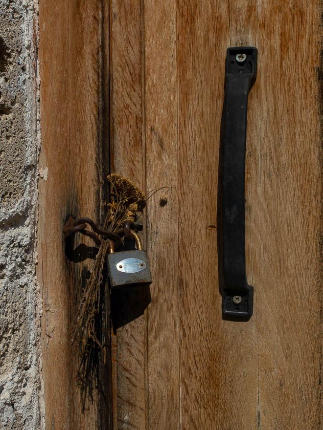 Holztür mit Hängeschloss und Trockenblumen