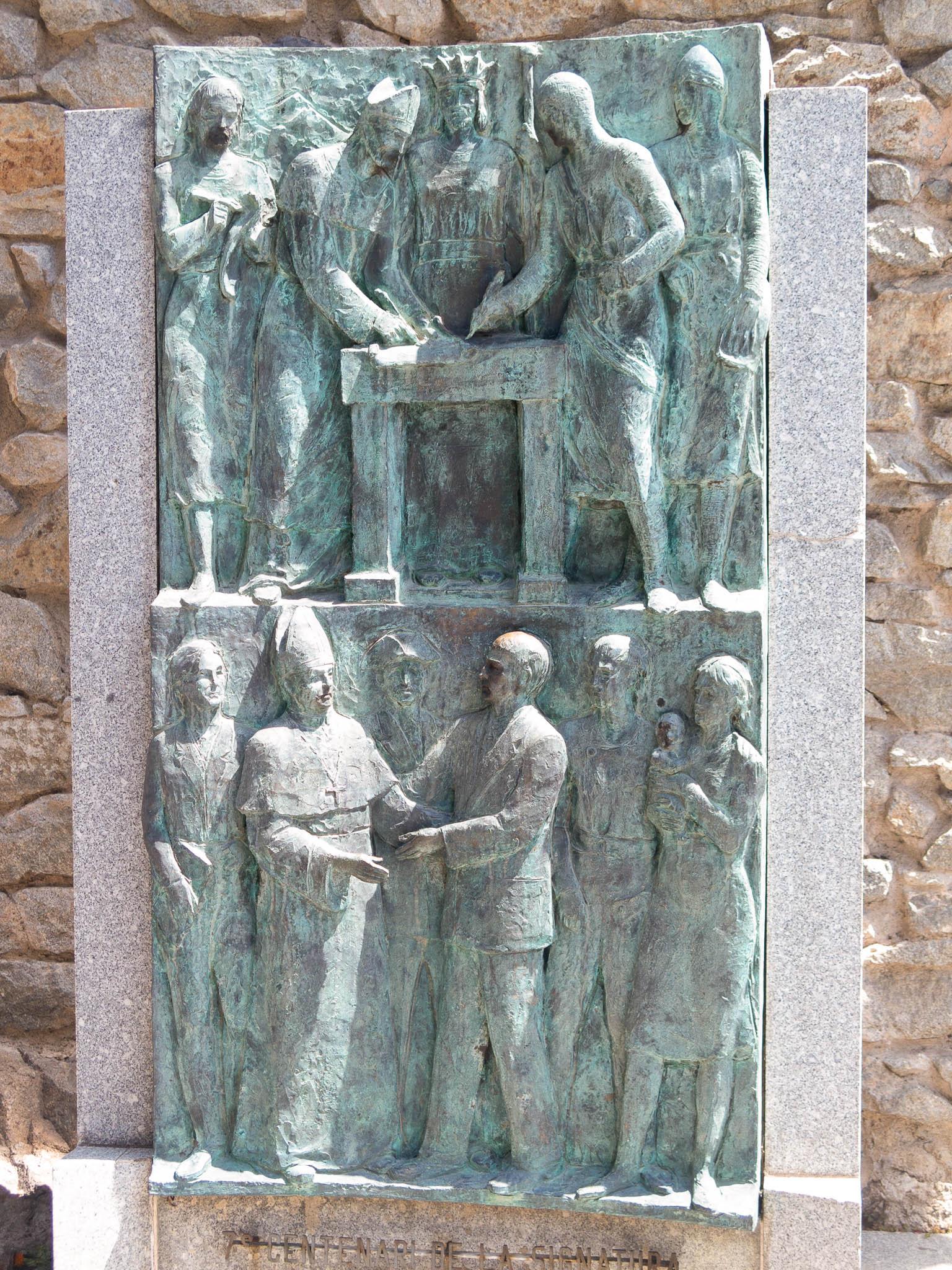 Gedenktafel Pareatges-Vertrag in Andorra la Vella